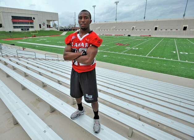 Lamar football player VanLawrence Franks, is the team's smallest player at 5-foot-5, 135 pounds.  Dave Ryan/The Enterprise Photo: Dave Ryan
