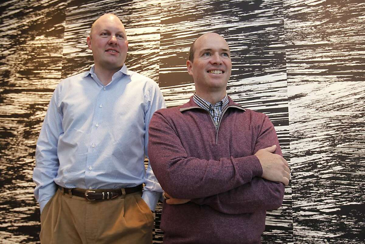 In this photos taken Monday, Nov. 1, 2010, Internet browser pioneer Marc Andreessen, left, and his longtime business partner, Ben Horowitz, pose in their office in Menlo Park, Calif. A venture capital fund run by the pair has raised another US$650 millionas the firm looks for opportunities in technology startups.