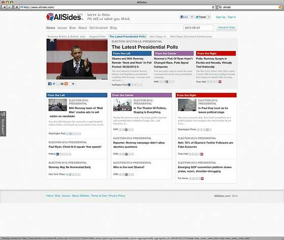 The AllSides website provides coverage of the presidential campaign from several media sources and identifies their political leanings. Photo: AllSides