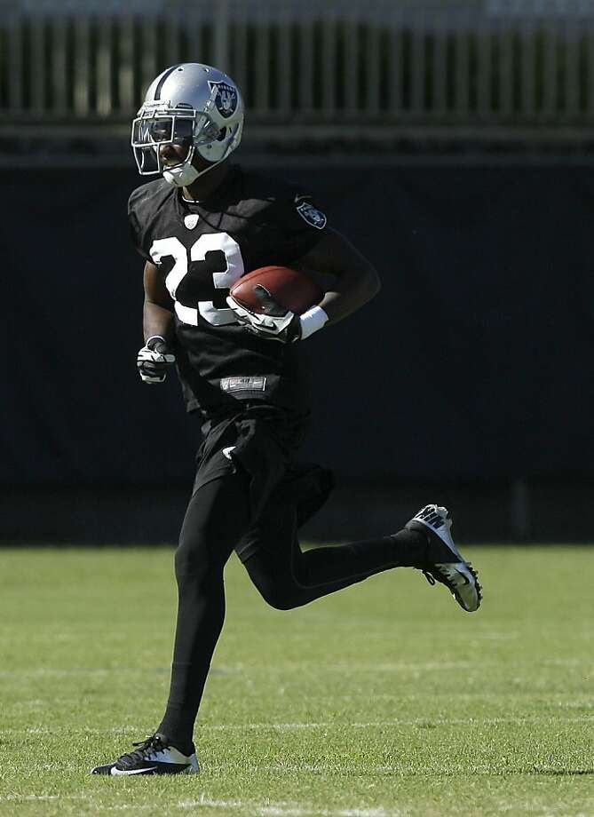 Oakland Raiders cornerback DeMarcus Van Dyke practices at an NFL football training camp in Napa, Calif., Wednesday, Aug. 8, 2012. (AP Photo/Jeff Chiu) Photo: Jeff Chiu, Associated Press