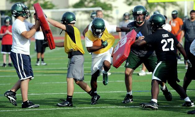 Norwalk High School's football practice at the school on Friday August 24, 2012. Photo: Lindsay Niegelberg / Stamford Advocate
