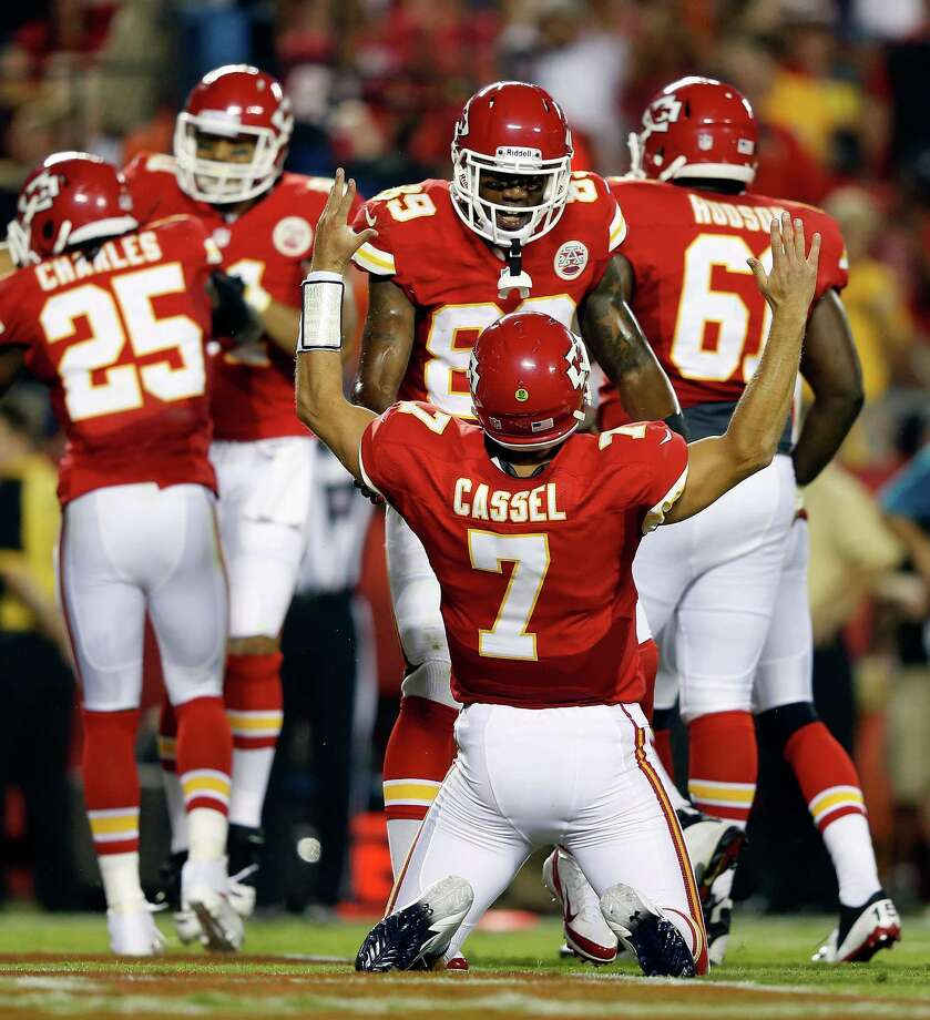 KANSAS CITY, MO - AUGUST 24:  Quarterback Matt Cassel #7 of the Kansas City Chiefs celebrates after a touchdwon during the NFL preseason game against the Seattle Seahawks at Arrowhead Stadium on August 24, 2012 in Kansas City, Missouri. Photo: Jamie Squire, Getty Images / 2012 Getty Images