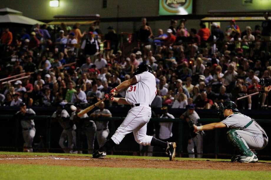 ValleyCats outfielder #31 Jarrod McKinney hits a home run during the game against the Vermont Lake Monsters, Friday Aug. 24, 2012 in Troy, N.Y. (Dan Little/Special to the Times Union) Photo: Dan Little / Dan Little