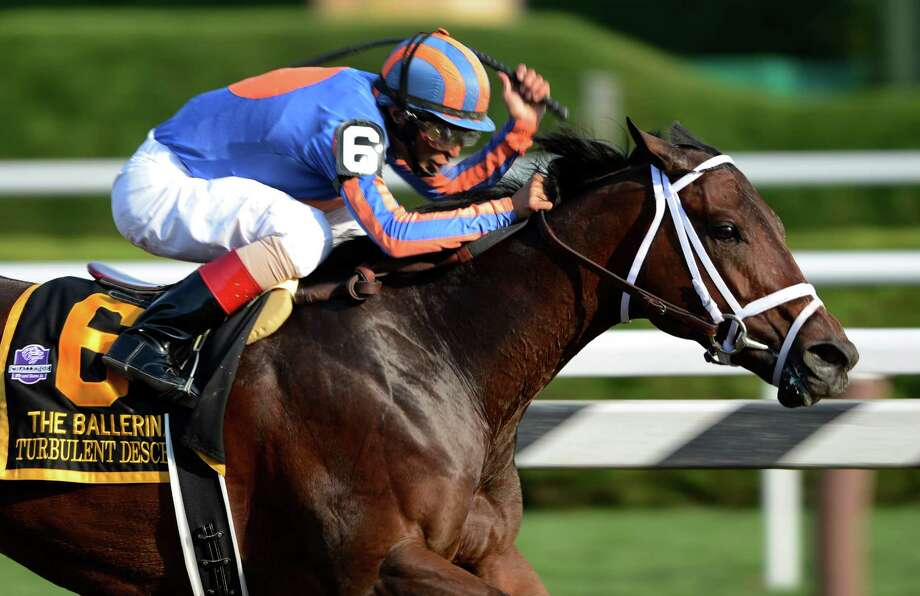 Turbulent Descent with jockey John Velazquez wins the 34th running of The Ballerina Stake at the Saratoga Race Course  in Saratoga Springs, N.Y. Aug. 24, 2012.   (Skip Dickstein/Times Union) Photo: Skip Dickstein