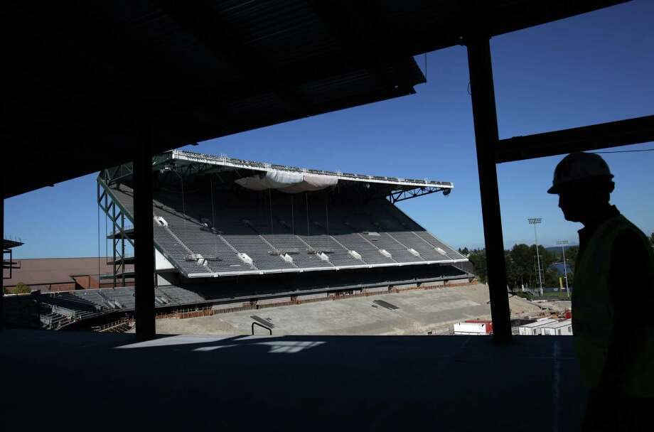 Husky Stadium is shown during a media tour of the construction site on Friday, August 24, 2012.  The University of Washington is halfway through a $261 million construction process to rebuild the stadium. The project is 