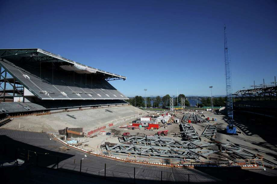 Husky Stadium is shown during a media tour of the construction site. Photo: JOSHUA TRUJILLO / SEATTLEPI.COM