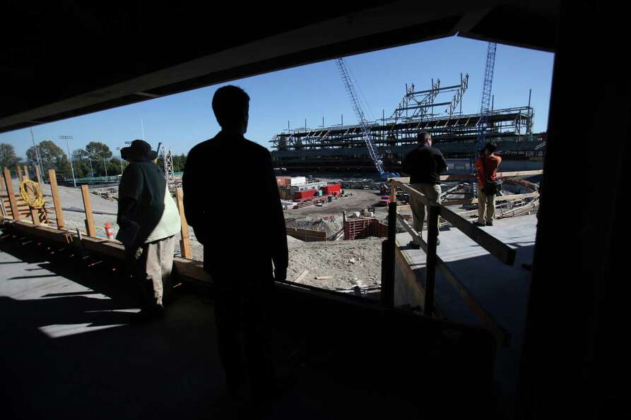 Husky Stadium is shown during a media tour of the construction site on Friday, August 24, 2012.