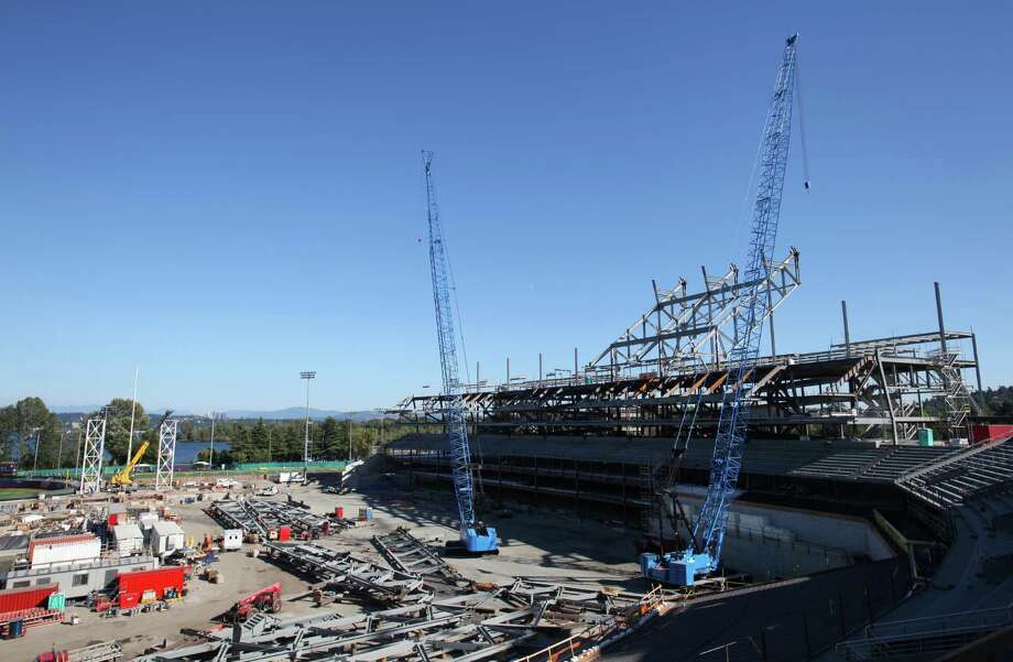 Husky Stadium is shown during a media tour of the construction site. Go here to see a 360-degree panoramic image of the stadium construction. Photo: JOSHUA TRUJILLO / SEATTLEPI.COM
