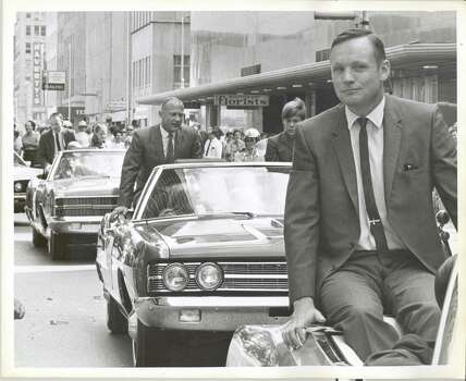 POST  Apollo 11 ticker tape parade in downtown Houston. Apollo 11 Astronauts (R-L) Neil A. Armstrong, Edwin E. Aldrin Jr. and Michael Collins parade through downtown Houston in August 16, 1969. Photo: Jerry Click, Houston Chronicle / Houston Post files