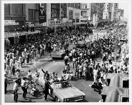 Main Street Houston - Astronaut Neil Armstrong, first man on the moon, waves to Houstonians who came by the thousands August  16, 1969 to cheer the Apollo 11 astronauts, Armstrong, Aldrin and Collins after their historic moon landing in July. Photo: JIM COKER, HOUSTON CHRONICLE / HOUSTON CHRONICLE