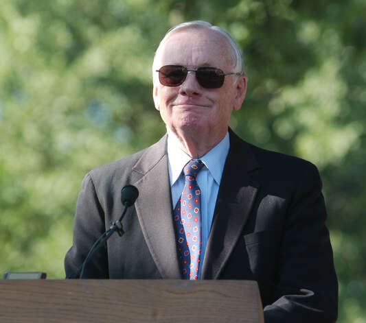 Former astronaut Neil Armstrong speaks during a ceremony at the graves and memorial of Orville and Wilbur Wright Sunday, July 20, 2003, at Woodland Cemetery, in Dayton, Ohio. Photo: DAVID KOHL, AP / AP