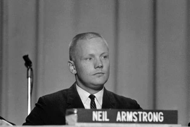 "In this Sept. 17, 1962 file photo, Neil Armstrong, one of the nine astronauts, is shown as he was introduced to the press, along with the other astronauts in Houston. The family of Neil Armstrong, the first man to walk on the moon, says he has died at age 82. A statement from the family says he died following complications resulting from cardiovascular procedures. It doesn't say where he died. Armstrong commanded the Apollo 11 spacecraft that landed on the moon July 20, 1969. He radioed back to Earth the historic news of ""one giant leap for mankind."" Armstrong and fellow astronaut Edwin ""Buzz"" Aldrin spent nearly three hours walking on the moon, collecting samples, conducting experiments and taking photographs. In all, 12 Americans walked on the moon from 1969 to 1972.  Photo: Anonymous, Associated Press / AP"