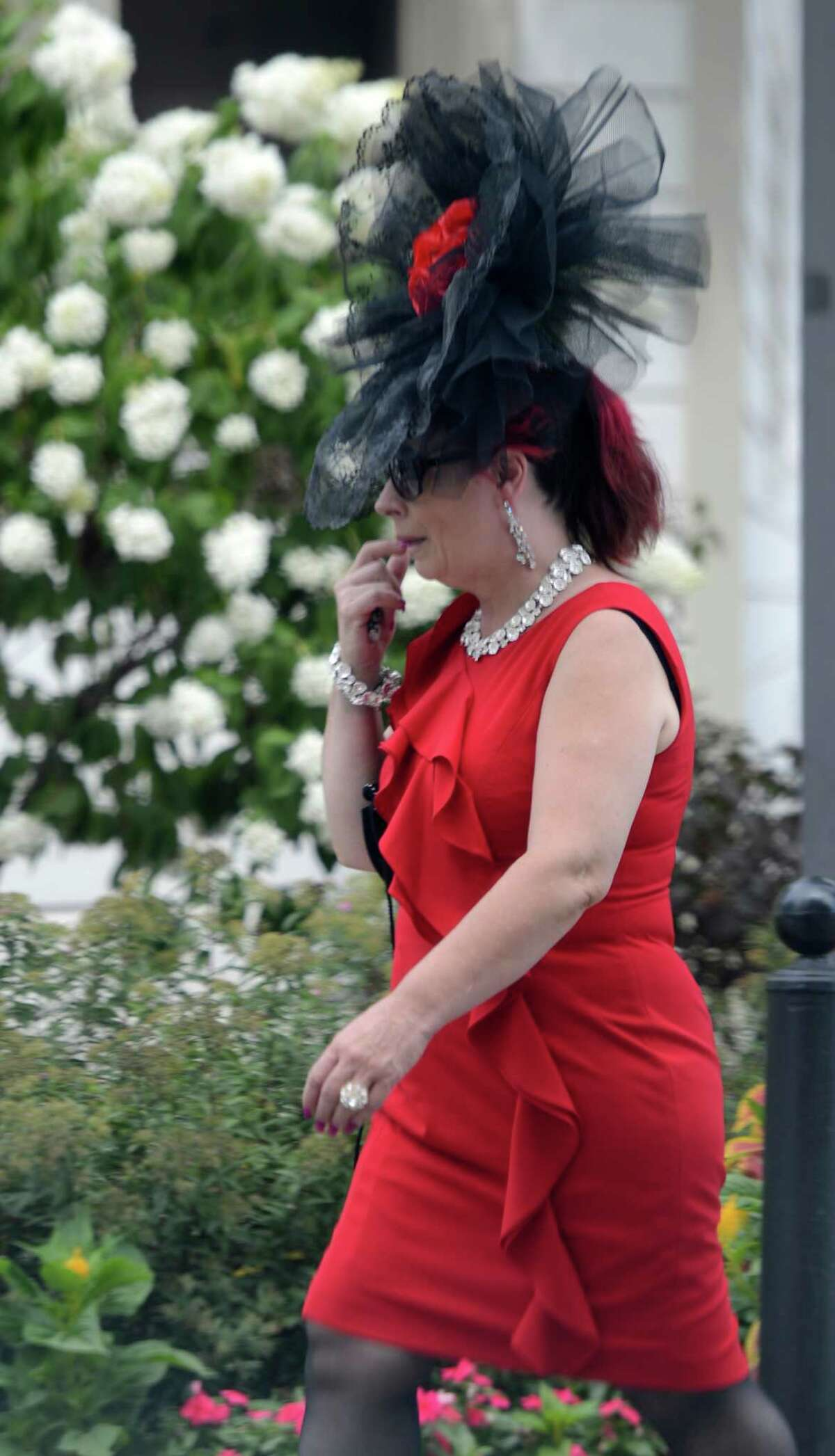 Interesting hats are abundant on Travers Day at the Saratoga Race Course in Saratoga Springs, N.Y. Aug. 25, 2012. (Skip Dickstein/Times Union)