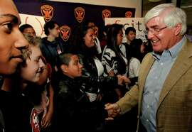 "Ron Conway greets students who will be part of the Future Graduates Tech Summer Internship Program. A Sunday profile on Silicon Valley investor, Ron Conway, in San Francisco, Ca., on Wednesday June 20, 2012. ""sf.citi was created to enable the tech community to use it's resources to improve the lives of San Franciscans, "" said Ron Conway, Chairman of San Franciscans Initiative for Technology and Innovation."