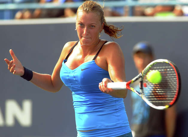 Petra Kvitova returns the ball to her opponent Maria Kirilenko, during 2012 New Haven Open at Yale in New Haven, Conn. on Saturday August 25, 2012. Kvitova beat Kirilenko 7-6 (9), 7-5. Photo: Christian Abraham / Connecticut Post