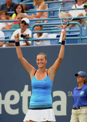 Petra Kvitova reacts after defeating her opponent Maria Kirilenko, during 2012 New Haven Open at Yale in New Haven, Conn. on Saturday August 25, 2012. Kvitova beat Kirilenko 7-6 (9), 7-5. Photo: Christian Abraham / Connecticut Post
