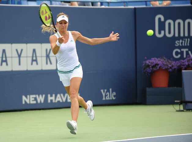 The championship match of the 2012 New Haven Open at Yale between Maria Kirilenko and Petra Kvitova, in New Haven, Conn. on Saturday August 25, 2012. Kvitova beat Kirilenko 7-6 (9), 7-5. Photo: Christian Abraham / Connecticut Post