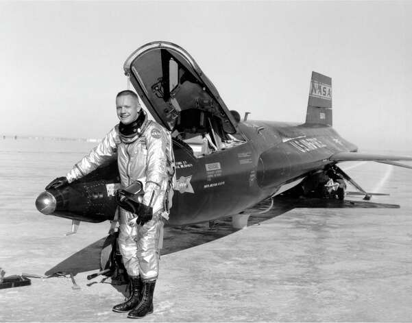 Neil Armstrong is seen in a Jan. 1, 1960 NASA photo next to the X-15 ship #1 (Serial #56-6670) after a research flight. X-15-1, serial number 56-6670, is now located at the National Air and Space Museum, Washington DC. / PHOTO PROVIDED BY NASA