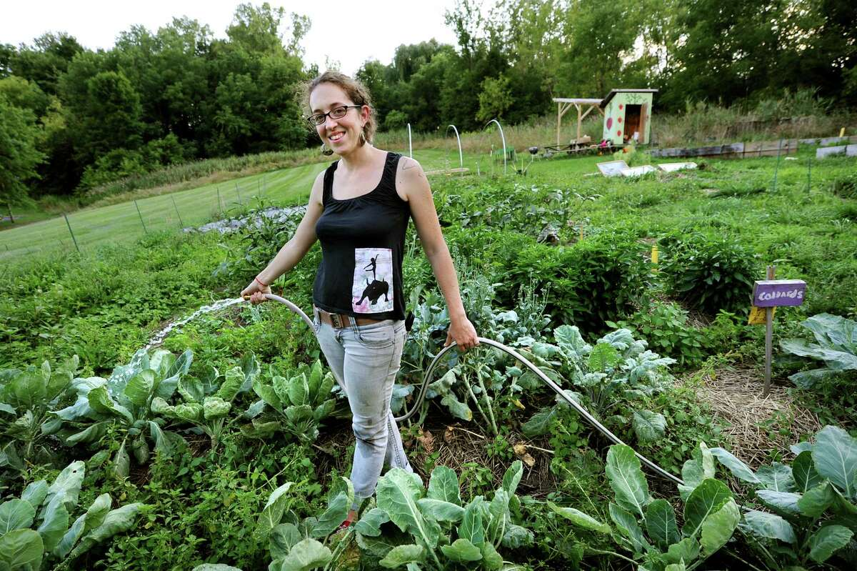 Rana Morris, director of Youth Organics, waters the garden on Thursday, Aug. 23, 2012, at Youth Organics garden in Albany, N.Y. (Cindy Schultz / Times Union)