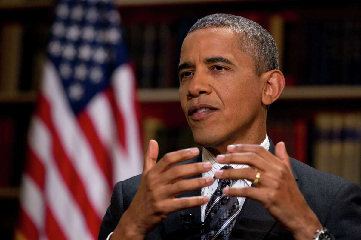 President Barack Obama speaks during an interview with The Associated Press at the White House, Thursday, Aug. 23, 2012, in Washington. Obama talked about the presidential race and Republican challenger Mitt Romney in the exclusive AP interview before heading off to a long weekend with his family at Camp David, the secluded presidential retreat in the Maryland mountains. His comments come ahead of the GOP convention opening Aug. 27, 2012, in Tampa, Fla. (AP Photo/Carolyn Kaster)