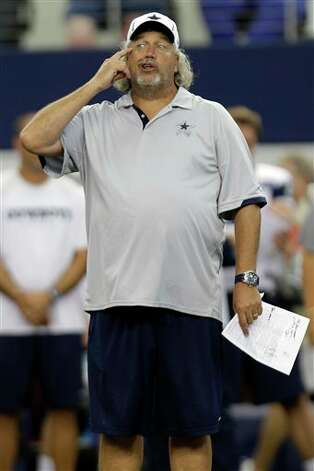 Dallas Cowboys defensive coordinator Rob Ryan gestures during NFL football practice at Cowboys Stadium, Thursday, Aug. 23, 2012, in Arlington, Texas. (AP Photo/LM Otero) Photo: LM Otero, Associated Press / AP