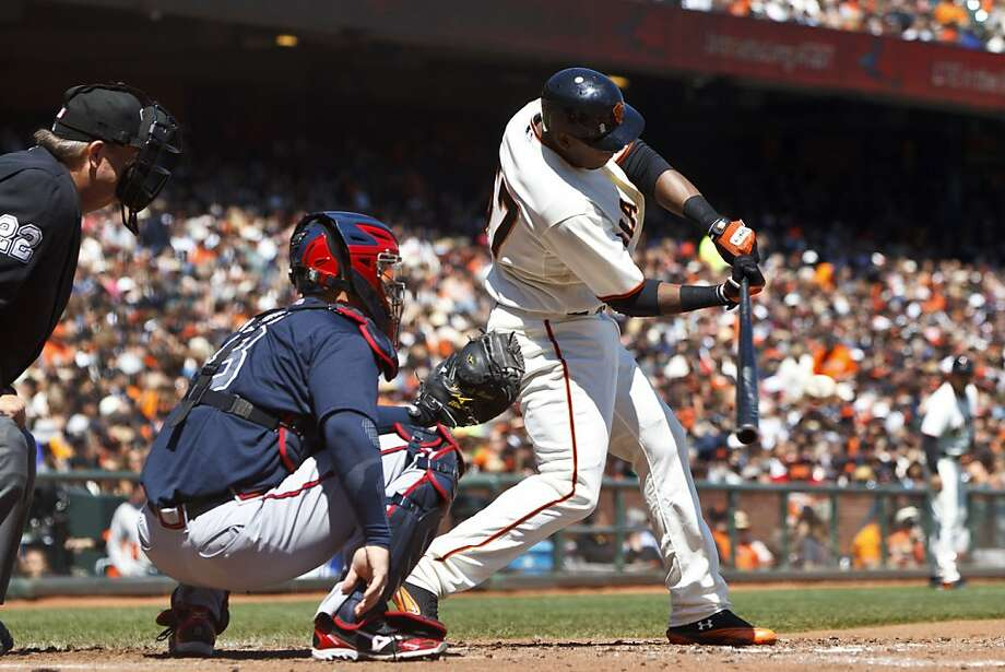 SAN FRANCISCO, CA - AUGUST 25: Francisco Peguero #57 of the San Francisco Giants during his first MLB at bat against the Atlanta Braves during the third inning at AT&T Park on August 25, 2012 in San Francisco, California. (Photo by Jason O. Watson/Getty Images) Photo: Jason O. Watson, Getty Images