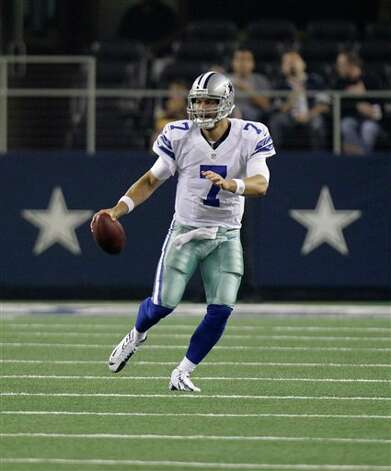Dallas Cowboys quarterback Stephen McGee (7) runs during the second half of a preseason NFL football game against the St. Louis Rams Saturday, Aug. 25, 2012 in Arlington, Texas. (AP Photo/LM Otero) Photo: LM Otero, Associated Press / AP