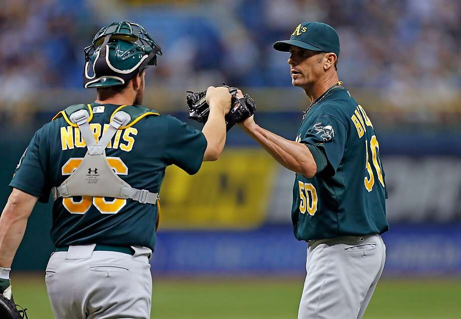 ST. PETERSBURG, FL - AUGUST 25:  Catcher Derek Norris #36 of the Oakland Athletics congratulates pitcher Grant Balfour #50 after his save against the Tampa Bay Rays at Tropicana Field on August 25, 2012 in St. Petersburg, Florida.  (Photo by J. Meric/Getty Images) Photo: J. Meric, Getty Images