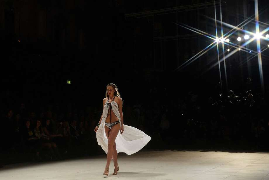 A model showcases designs by Suboo during the Miami Swim show. Photo: Stefan Gosatti, Getty Images / 2012 Getty Images