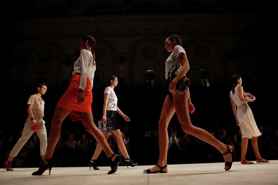 Models showcases designs by Oroton on the catwalk. Photo: Lisa Maree Williams, Getty Images / 2012 Getty Images