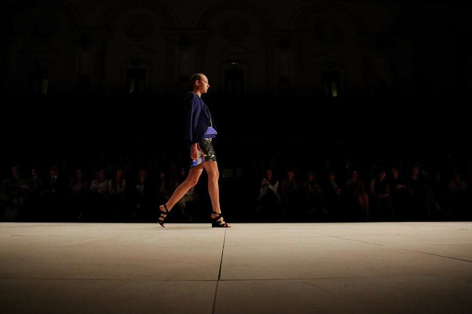 A model showcases designs by Oroton on the catwalk. Photo: Lisa Maree Williams, Getty Images / 2012 Getty Images