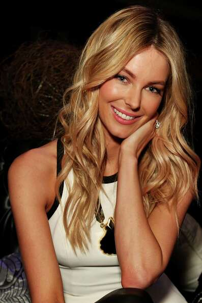 Jennifer Hawkins poses backstage ahead of the MYER show.