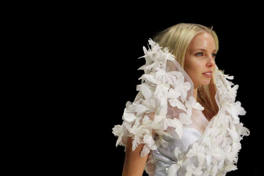 A model showcases designs by Bowie on the catwalk during the Fashion Week Australia Review presented