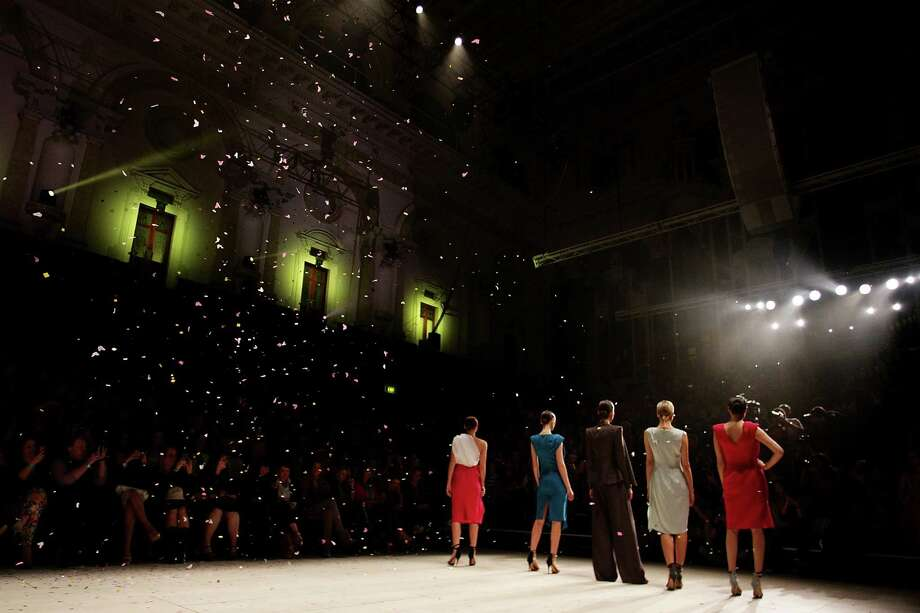 Models showcase designs by Carl Kapp on the catwalk during the Fashion Week Australia Review presented by Marie Claire. Photo: Lisa Maree Williams, Getty Images / 2012 Getty Images