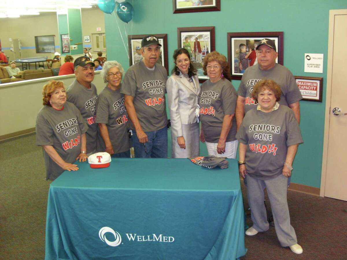 Seniors at the Elvira Cisneros Senior Community Center pictured from the left are Dalia Guzman, Alfonso Varela, Guillermina Quirarte, Ruben Villarreal, Consuelo Jimenez, Joe G. Rodriguez and Delfina Lopez, Councilwoman Leticia Ozuna (center).