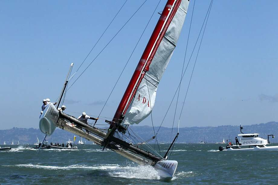 Italy's Luna Rossa Piranha won the final fleet race of the World Series event despite nearly capsizing near the finish line. Photo: Lacy Atkins, The Chronicle