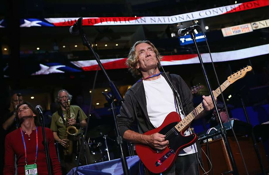 Guitarist G.E. Smith does a sound check ahead of the Republican National Convention at the Tampa Bay Times Forum on August 26, 2012 in Tampa, Florida. The RNC is scheduled to convene on August 27 and will hold its first session on August 28 as Tropical Storm Isaac threatens disruptions due to its proximity to the Florida peninsula.  (Photo by Chip Somodevilla/Getty Images) Photo: Chip Somodevilla, Getty Images
