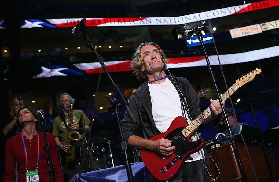 Guitarist G.E. Smith does a sound check ahead of the Republican National Convention at the Tampa Bay