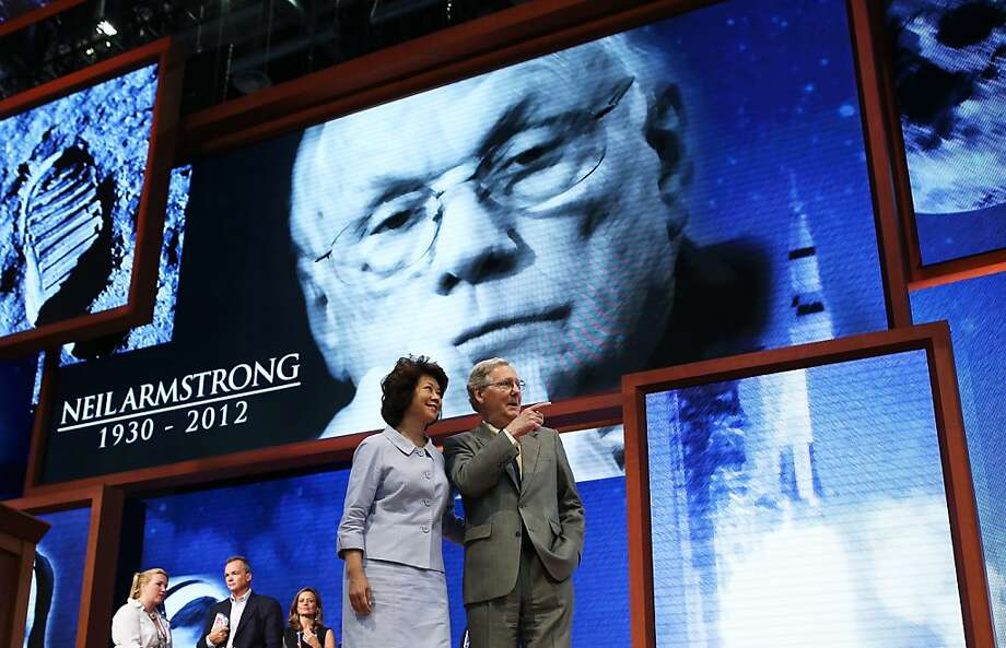 Minority Leader Mitch McConnell (R-KY) stands on stage with his wife, former U.S. Secretary of Labor Elaine Chao ahead of the Republican National Convention at the Tampa Bay Times Forum on August 26, 2012 in Tampa, Florida. The RNC is scheduled to convene on August 27 and will hold its first session on August 28 as Tropical Storm Isaac threatens disruptions due to its proximity to the Florida peninsula.  (Photo by Chip Somodevilla/Getty Images) Photo: Chip Somodevilla, Getty Images