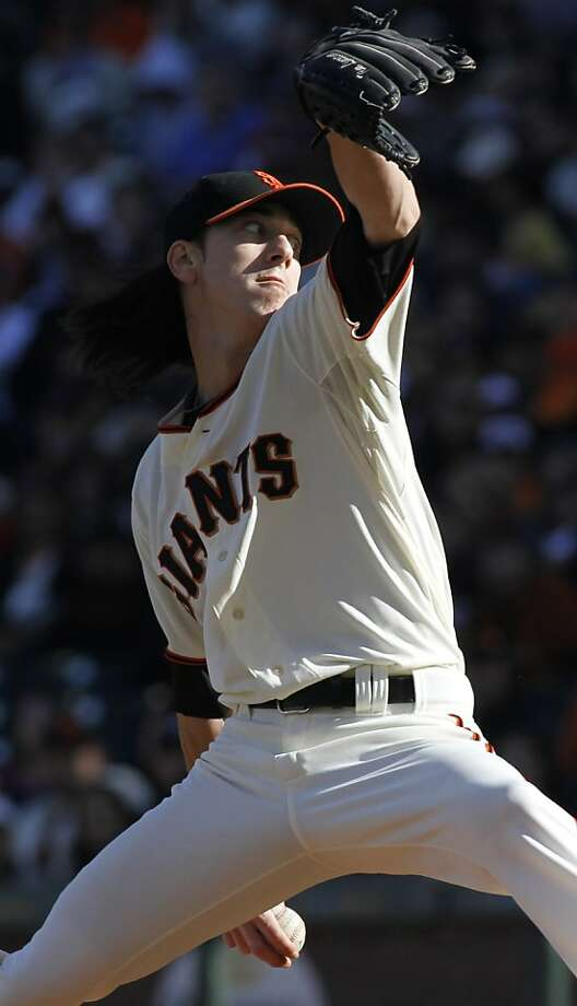 San Francisco Giants pitcher Tim Lincecum throws to the Atlanta Braves during the first inning of a baseball game, Sunday, Aug. 26, 2012, in San Francisco. (AP Photo/George Nikitin) Photo: George Nikitin, Associated Press