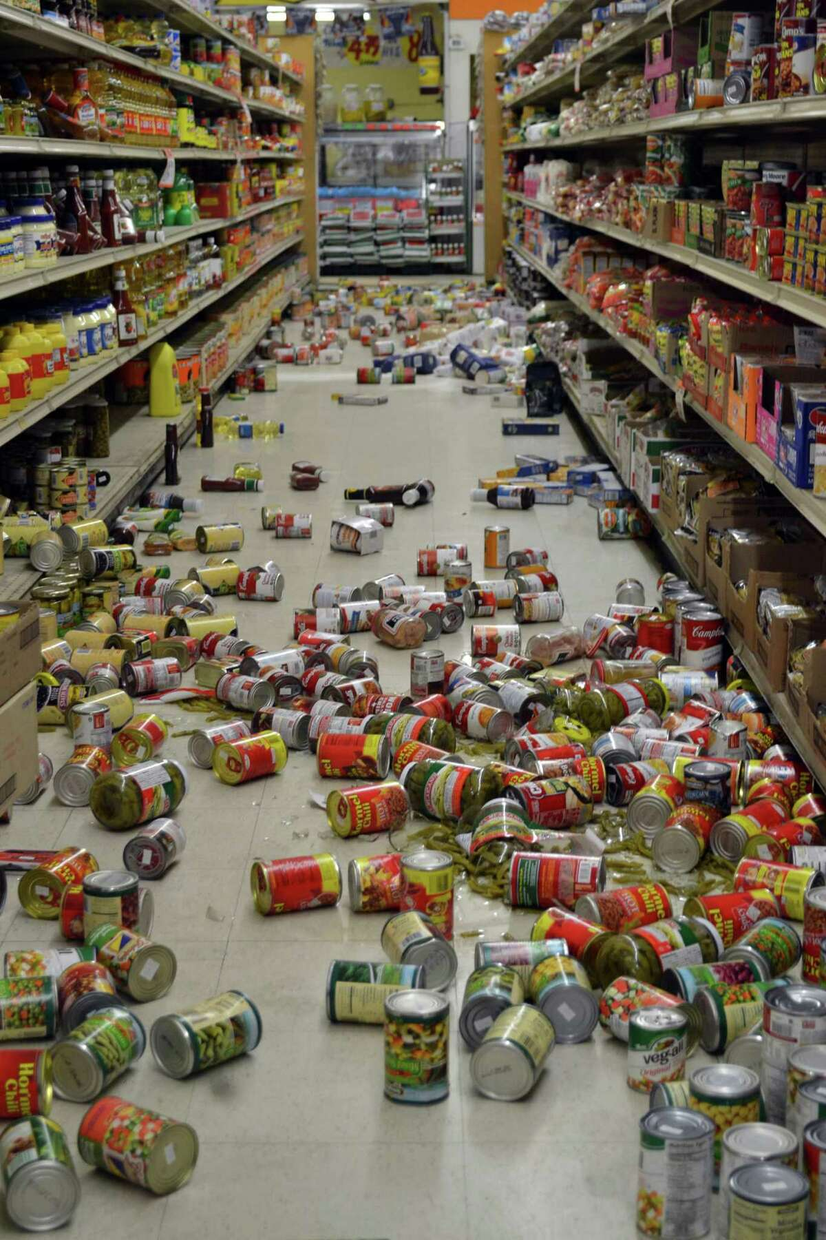 El Sol Market on Main Street in Brawley, Calif., was hit hard by the earthquakes that hit throughout Sunday, Aug. 26, 2012. Dozens of small to moderate earthquakes rattled Southern California on Sunday, shaking an area from rural Imperial County to the San Diego coast and north into the Coachella Valley. (AP Photo/Imperial Valley Press, Brandy Ronek)