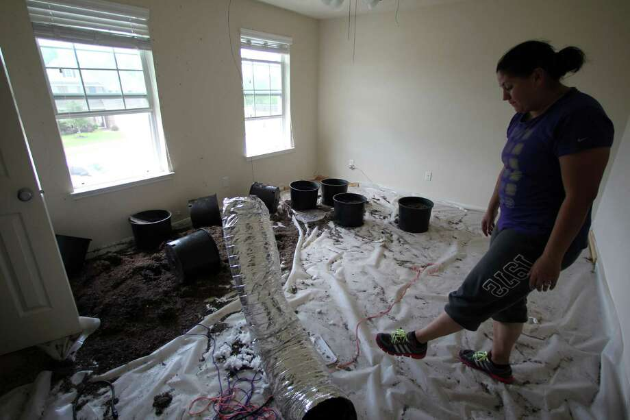 Candace Riddle looks over plastic pots and soil along with a makeshift air ducts inside her home which renters used for a marijuana growing farm that was raided by DEA, Texas Department of Public Safety and Harris County Sheriff Department, Thursday, Aug. 23, 2012, in Spring.  ( James Nielsen / Chronicle ) Photo: James Nielsen / © Houston Chronicle 2012
