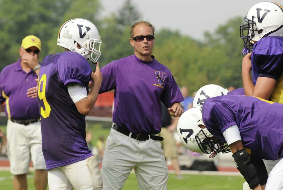 Voorheesville football head coach Joe Sapienza during a scrimmage with Albany Academy in Albany, NY Saturday Aug. 25, 2012. (Michael P. Farrell/Times Union) Photo: Michael P. Farrell