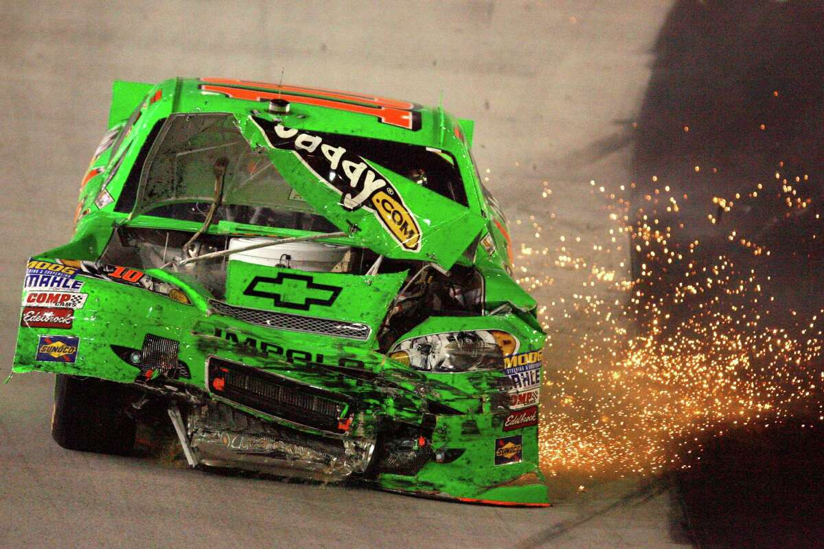 Danica Patrick slows to a stop after crashing during the NASCAR Sprint Cup Series auto race at Bristol Motor Speedway, Saturday, Aug. 25, 2012, in Bristol, Tenn. (AP Photo/Autostock, Matthew T. Thacker) MANDATORY CREDIT