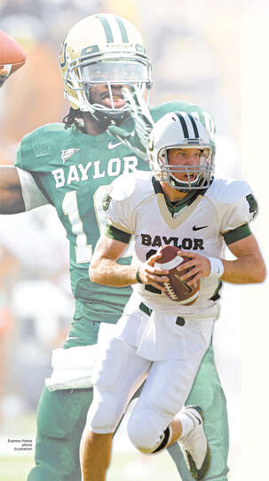 Nick Florence (front) has been tasked with following Robert Griffin III's (back) legacy at Bayl