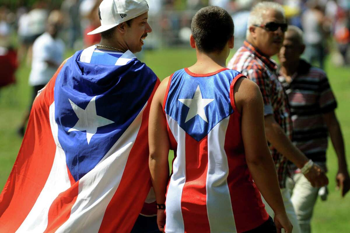 Ryan Perez, left, and Kyle Seniw, 15, both of Latham, show their Puerto Rican pride during the Albany Latin Fest on Saturday, Aug. 25, 2012, at Washington Park in Albany, N.Y. (Cindy Schultz / Times Union)