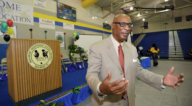 Outgoing BISD Superintendent Carrol Thomas speaks after this year's convocation. Dave Ryan/The Enterprise Photo: Dave Ryan