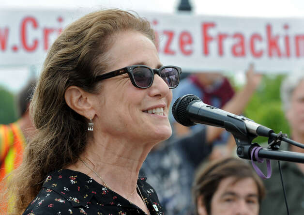 Actress Debra Winger participates in an anti-fracking rally Monday at the Corning Preserve in Albany. (Lori Van Buren / Times Union) Photo: Lori Van Buren