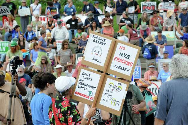 Hundreds of people show up Monday for an anti-fracking rally at the Corning Preserve in Albany. (Lori Van Buren / Times Union) Photo: Lori Van Buren