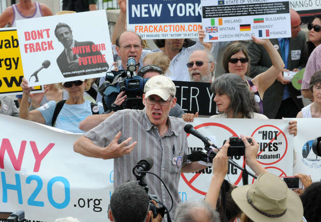 Bill McKibben, author, educator, and environmentalist, speaks during an anti-fracking rally Monday in Albany. (Lori Van Buren / Times Union) Photo: Lori Van Buren